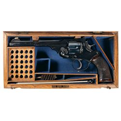 Spectacular Cased Webley & Scott Model Webley Green Target Revolver