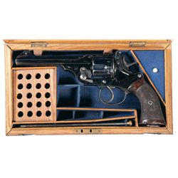 """Excellent Cased Military Proofed Webley .450/455 """"WG"""" Target Model Double Action Revolver with Milit"""