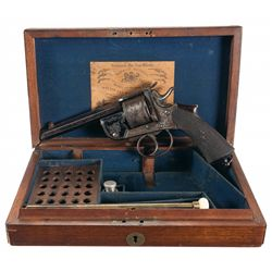 Matching Cased Engraved Hughes Self Extracting Double Action Revolver