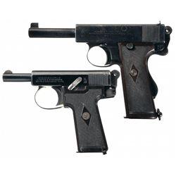 Two Webley & Scott Semi-Automatic Pistols