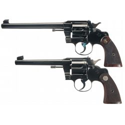 Collector's Lot of Two Pre-War Colt Officer's Model Double Action Revolvers
