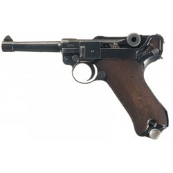 """Fine WWII """"S/42"""" 1939 Dated Nazi Luger Rig Complete with Two Magazines and Leather Holster"""