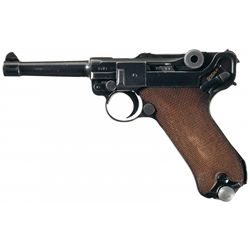 """WWII Mauser """"42"""" Code, 1940 Production Luger Pistol with Holster and Extra Magazine"""