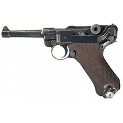 """WWII 1938 Dated """"S/42"""" Code Nazi Mauser Luger Pistol"""