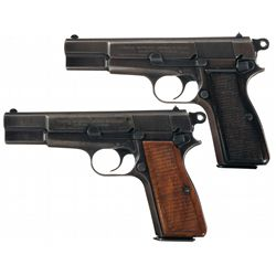 Collector's Lot of Two Nazi Occupation Fabrique Nationale High Power Semi-Automatic Pistols