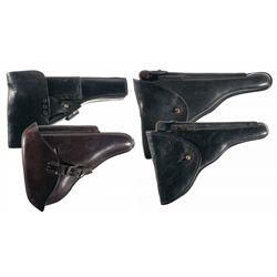 Four European Luger and Browning High Power Holsters