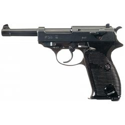 """Excellent WWII Walther """"ac/43"""" Code P-38 Semi-Automatic Pistol with Holster and Extra Magazine"""