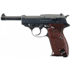 """Excellent WWII Walther """"ac 44"""" Code P-38 Semi-Automatic Pistol with Holster and Extra Magazine"""