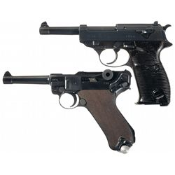 Collector's Lot of Two WWII Nazi Semi-Automatic Pistols with Flag