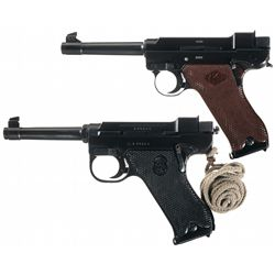 Collector's Lot of Two Excellent Lahti Semi-Automatic Pistols with Holsters