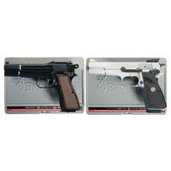 Two Browning High Power Semi-Automatic Pistols with Cases