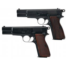 Collector's Lot of Two Post-War Fabrique Nationale High Power Semi-Automatic Pistols