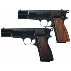 """Two Belgian Browning High Power """"T"""" Series Pistols"""
