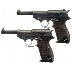 Collector's Lot of Two German P-38 Semi-Automatic Pistols with Holsters and Extra Magazines