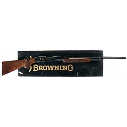 Engraved Gold Inlaid Browning Model 42 High Grade Slide Action Shotgun with Box