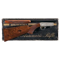 F. Marechal Signed Engraved Belgian Browning .22 Auto Grade III Semi-Automatic Rifle with Box