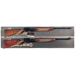 Two Boxed Browning BAR II Safari Semi-Automatic Rifles