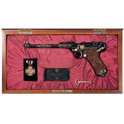 Cased American Historical Foundation Diamond Eagle Artillery Luger