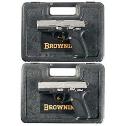 Two Browning Pro 9 Semi-Automatic Pistols with Cases