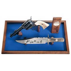 Colt 1 of 1,000 Cowboy Single Action Army Revolver and Knife Set with Case and Box