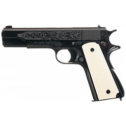 Factory Engraved Colt Experimental Government Model Semi-Automatic Pistol with Ivory Grips
