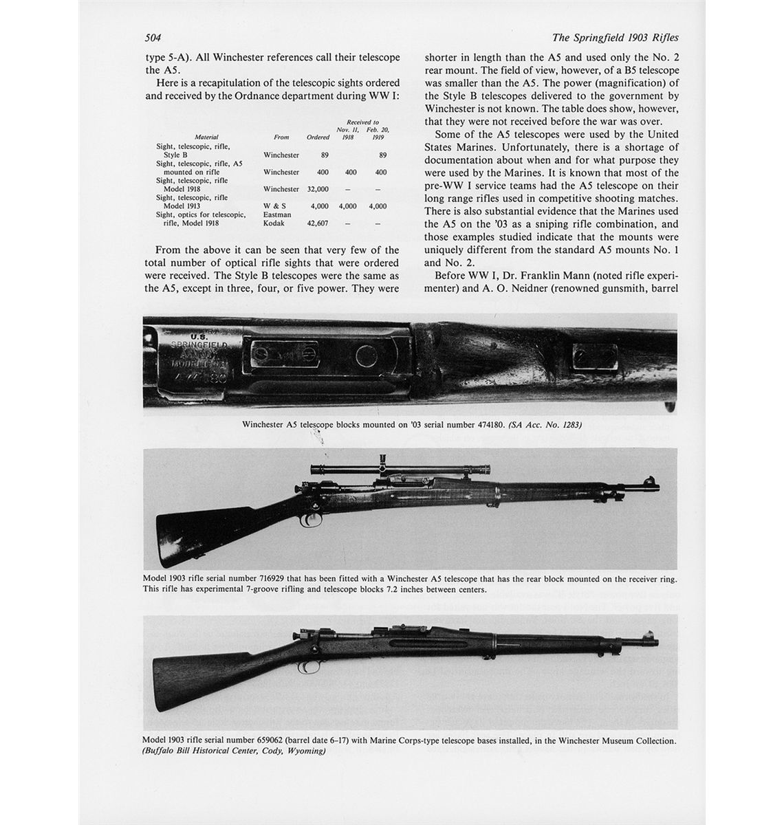 Extraordinary Documented Experimental Springfield Model 1903 Sniper Rifle  with Winchester A5 Scope