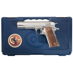 Colt National Match Royal Stainless Gold Cup Semi-Automatic Pistol with Case