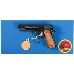 Engraved Colt Premier Edition Government Model Semi-Automatic Pistol with Box and Letter