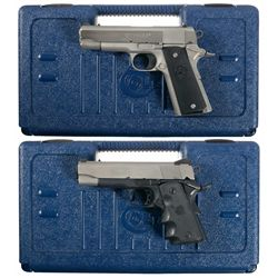 Two Colt 1911 Style Semi-Automatic Pistols with Cases