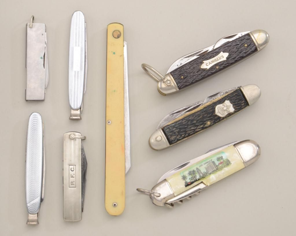 Riker case containing eight collectible folding blades