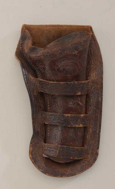 Unusual triple loop carved western style holster for 5-1/2