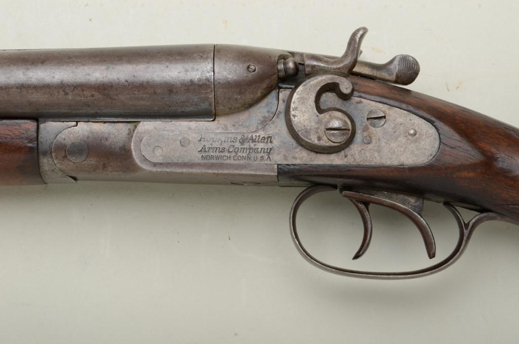 Hopkins  U0026 Allen Sxs Exposed Hammers Shotgun  12 Gauge  30 U201d Barrels  Blue Finish  Checkered Wood St