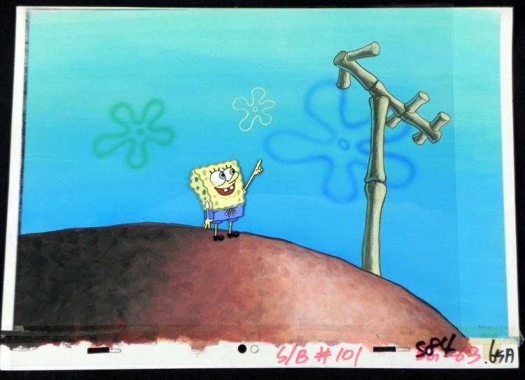 Original SpongeBob Animation Cel, Background TV Antenna