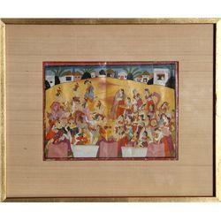 Indian Krishna Legend Festival of Holi, Gouache Painting