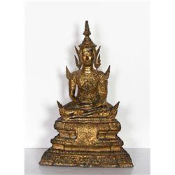 Thai Buddha, Painted Cast Metal Sculpture