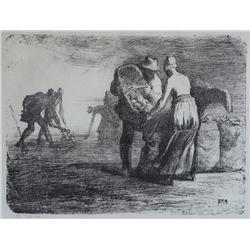 Jean Francois Millet, Farmers, Lithograph