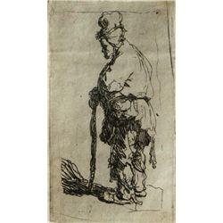 Rembrandt van Rijn, A Beggar Leaning on a Stick, Etching