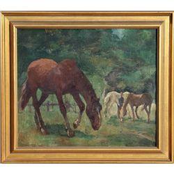 Ludwig Wilhelm Plock, Horses in Pasture, Oil Painting