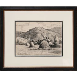Paul Emile Pissarro, Haystacks by a Cottage, Charcoal Drawing