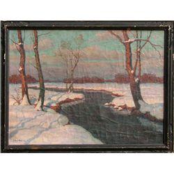 Jean-Jacques Berne-Bellecour, Snowy Landscape, Oil Painting