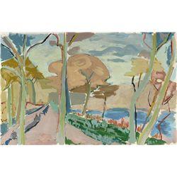 Huguette Baudrot, Landscape II, Watercolor