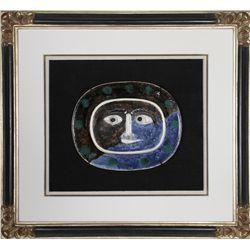 Pablo Picasso, Visage Brun-Bleu (Brown Blue Face) , Ceramic Plate