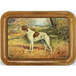 Winchester Advertising Tray depicting hunt dog scene, Winchester embossed in lower left corner. Ligh