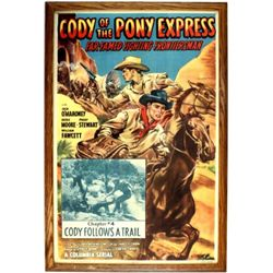"Original Columbia Pictures movie poster for ""Cody of the Pony Express"" starring Jock O'Mahoney 1950,"