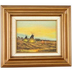 """Morning Camp"" by R Portillo original oil on board, nicely accomplished painting depicting an Indian"