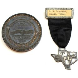 "Collection of 2 includes 1923 Union Stockyards International Livestock Expo medallion, 2 3/4"" and 19"