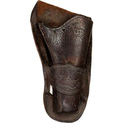 "Antique single loop holster for Colt SA 4 3/4"" barrel, front of holster with awl scratched designs i"