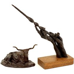 "2 very good bronzes the first by Bob Scriber entitled ""Steer"" 5"" long, the second of Plains piece pi"