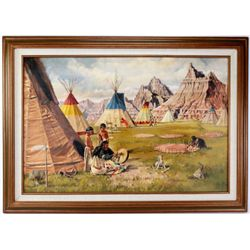 """Indian Village in the Badlands"" by Eugene Christopherson 1939-2007 oil on board dated 1978,  Depict"