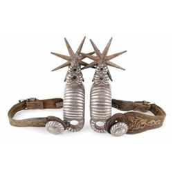 "Awesome pair silver mounted Mexican spurs heal bands 3/4"" thick with large 8 point rowels 4"", initia"